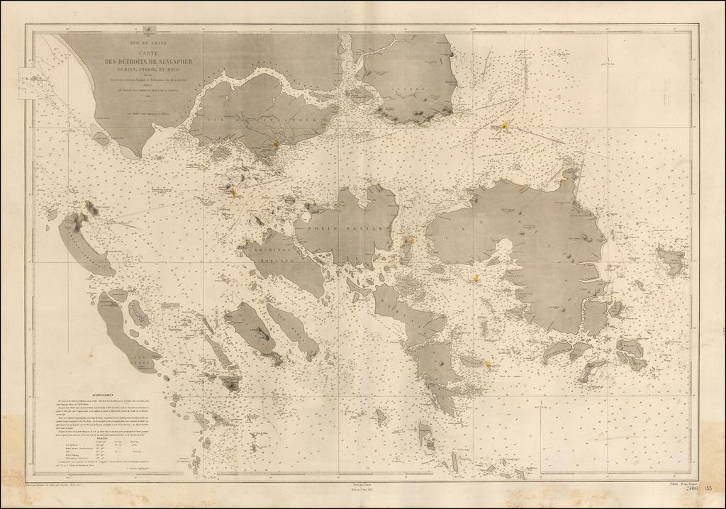 Carte Des Detroits De Singapour Durian, Jombol et Rhio Dressee d'apres les travaux Anglais et Hollandais les plus recents . . . 1866 By Depot de la Marine