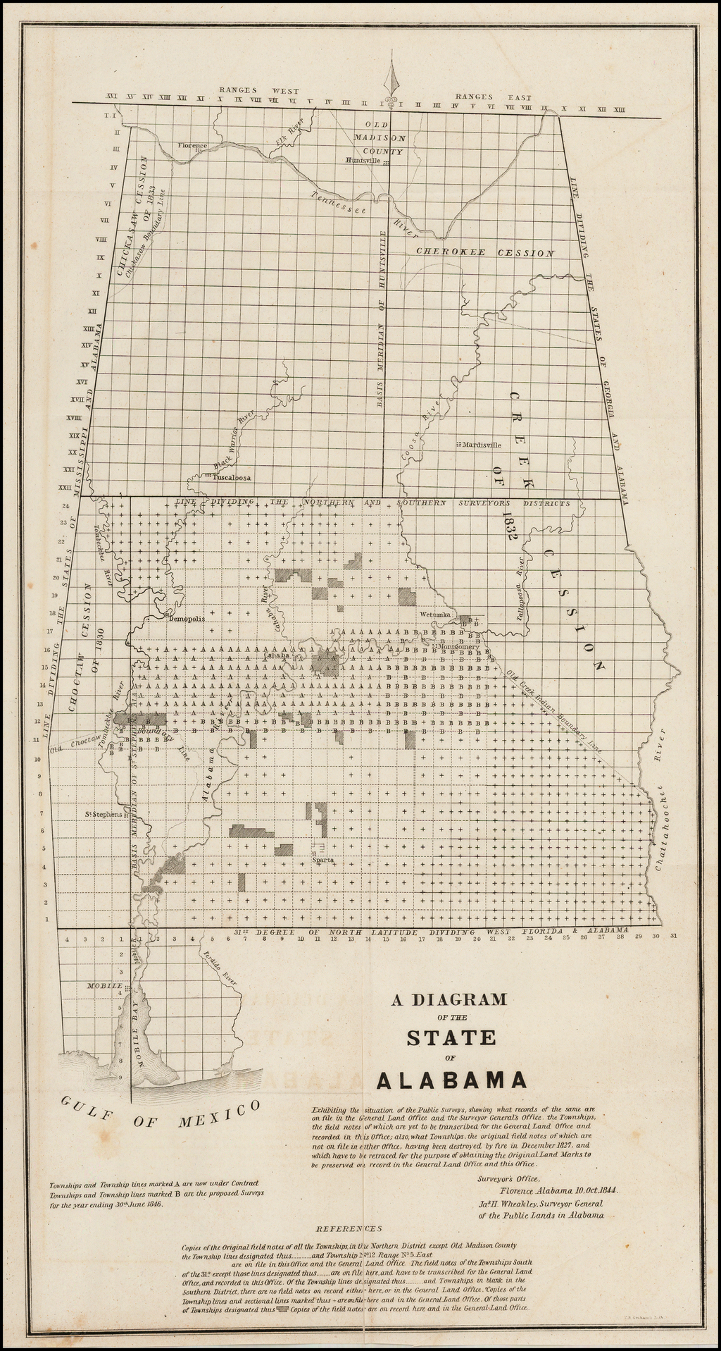 A Diagram of the State of Alabama Exhibiting the Situation of the Public Surveys . . . 1844 By General Land Office