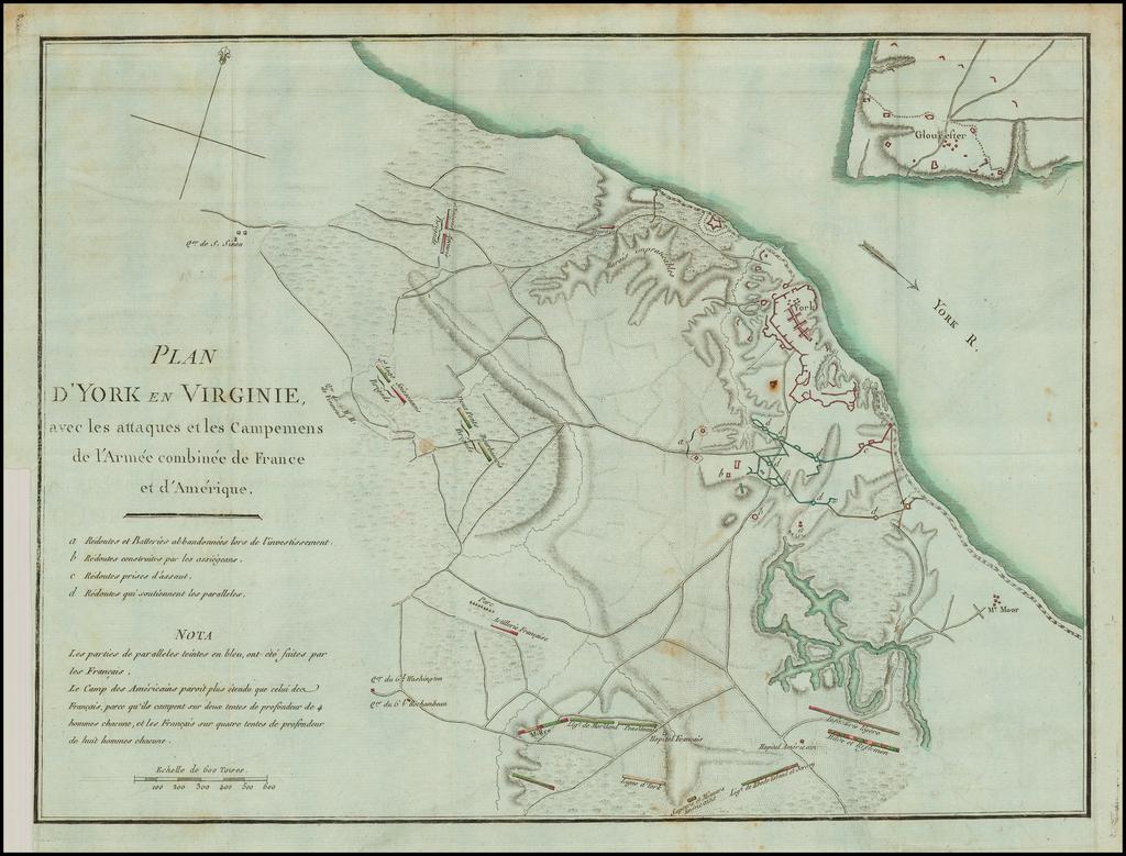 Plan D'York en Virginie avec les attaques et les Campemens de l'Armee combinee de France et d'Amerique By Henri Soules