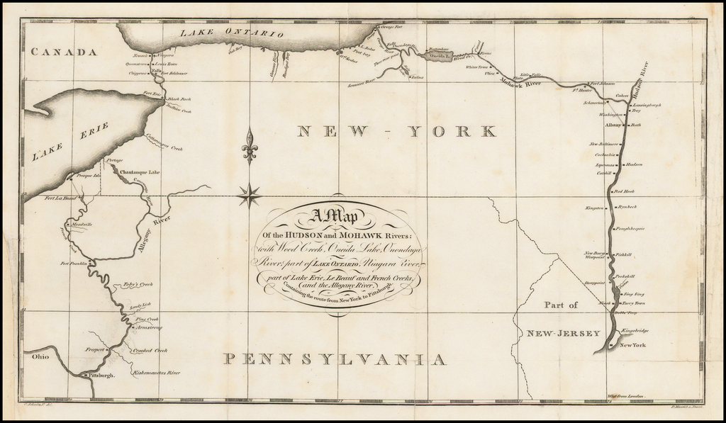 Map Of New York Rivers.A Map Of The Hudson And Mohawk Rivers With Wood Creek Oneida Lake