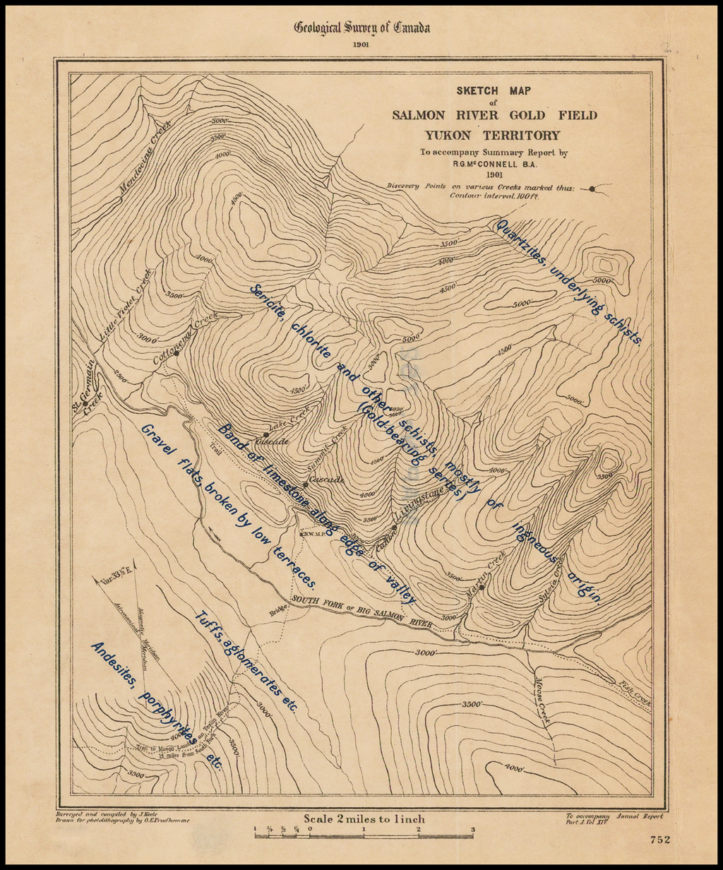 Sketch Map of Salmon River Gold Field Yukon Territory To accomapny Summary Report by R.G. McConnell B.A. 1901 By Geological Survey of Canada