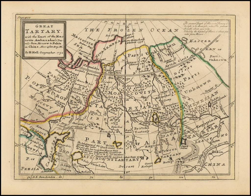 Great Tartary. with the Tract of the Mocovite Ambassador's Travels from Moscow to Pekin in China . . . 1732 By Herman Moll