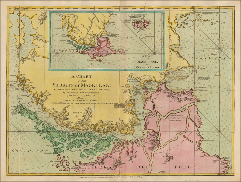 A Chart of the Straits of Magellan Inlarged from the Chart Published at Madrid in 1769 by Don Juan de la Cruz Cano y Olmedilla  . . .  By Robert Sayer  &  John Bennett