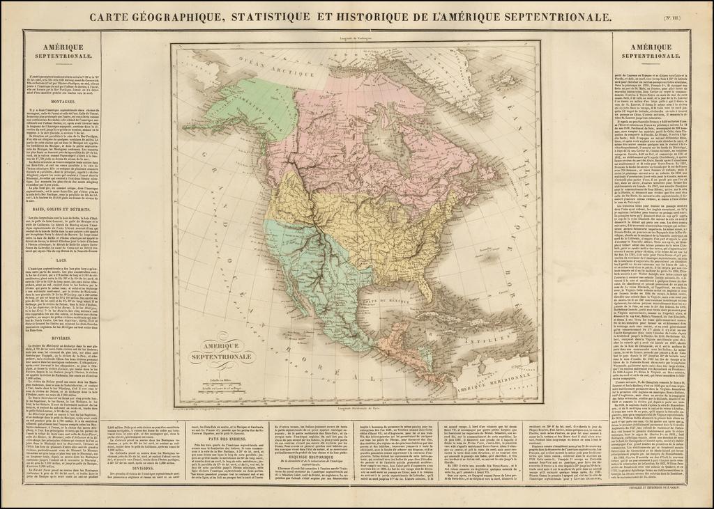 Carte Geographique, Statistique et Historique De L'Amerique Septentrionale By Jean Alexandre Buchon