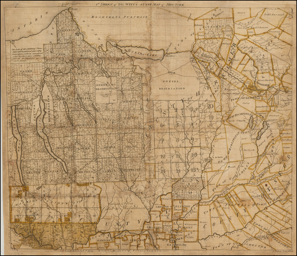 1st sheet of De Witt's State Map of New-York (with contemporary manuscript annotations) By Simeon De Witt