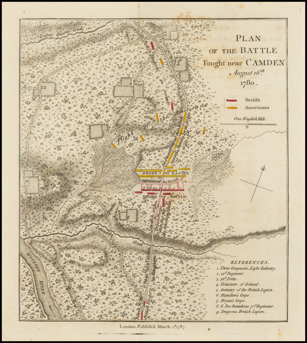 Plan of the Battle Fought near Camden August 16th 1780 By Charles Stedman
