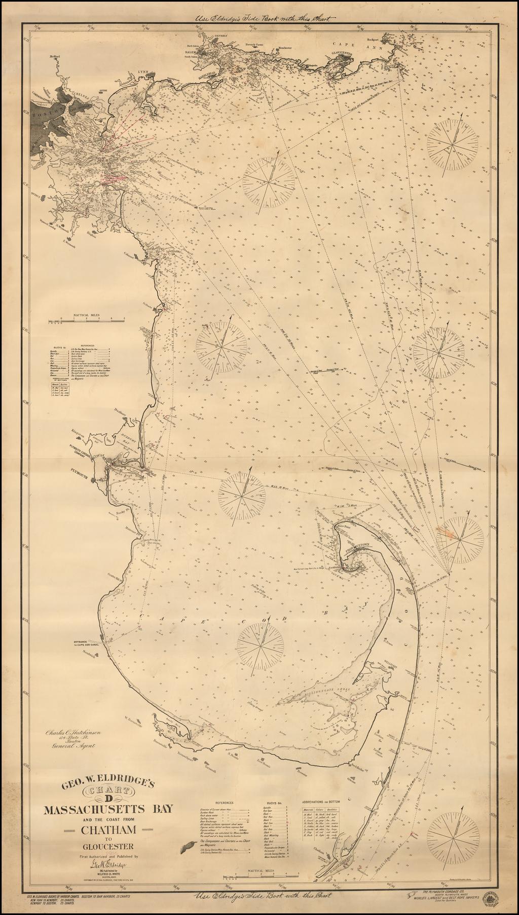 Geo. W. Eldridge's Chart D -- Massachusetts Bay And The Coast From Chatham To Glochester  1916 . . .  By George Eldridge