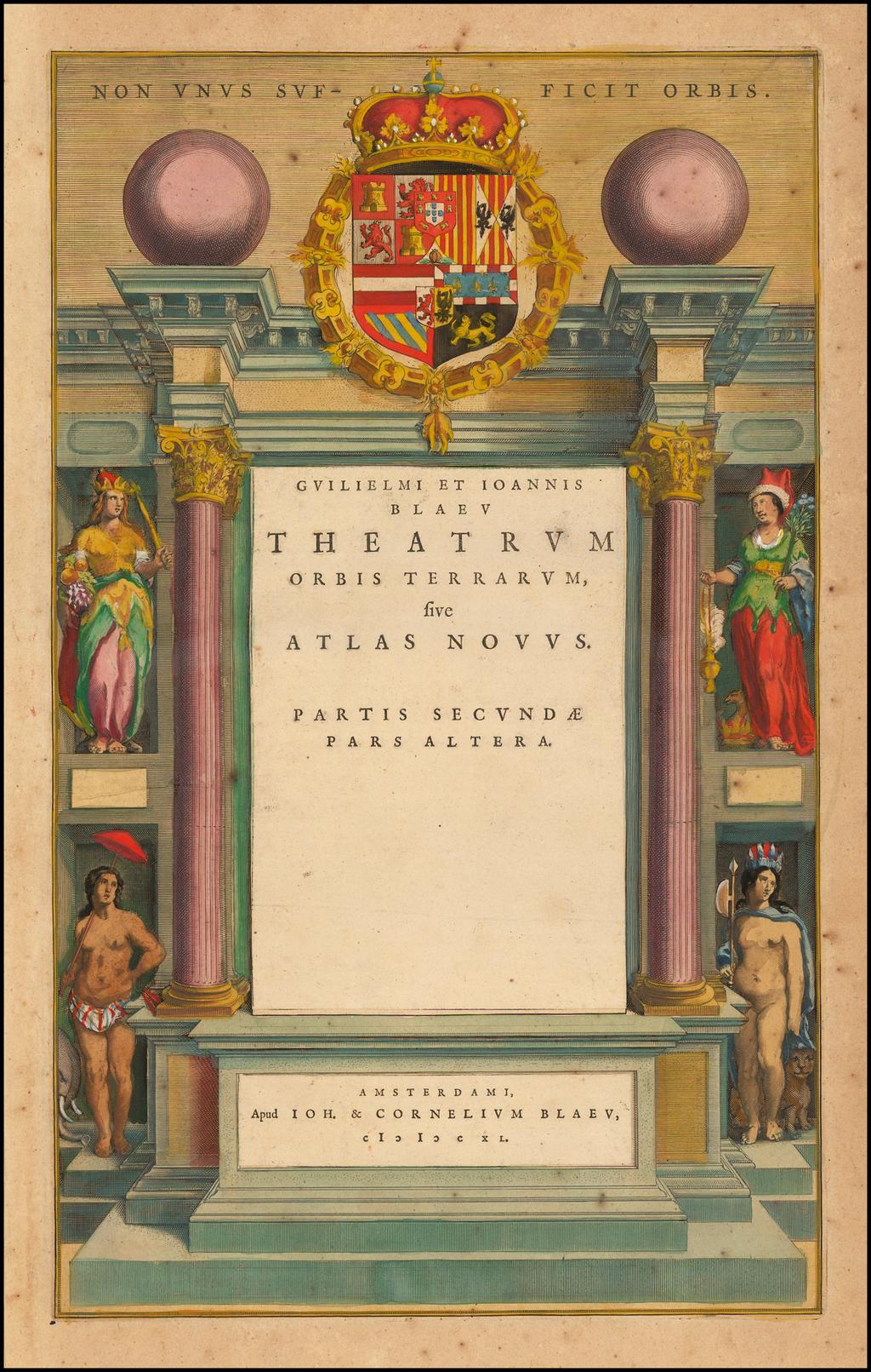 [Title Page] Theatrum Orbis Terrarum, Sive Atlas Novus.  Pars Secunda. By Willem Janszoon Blaeu