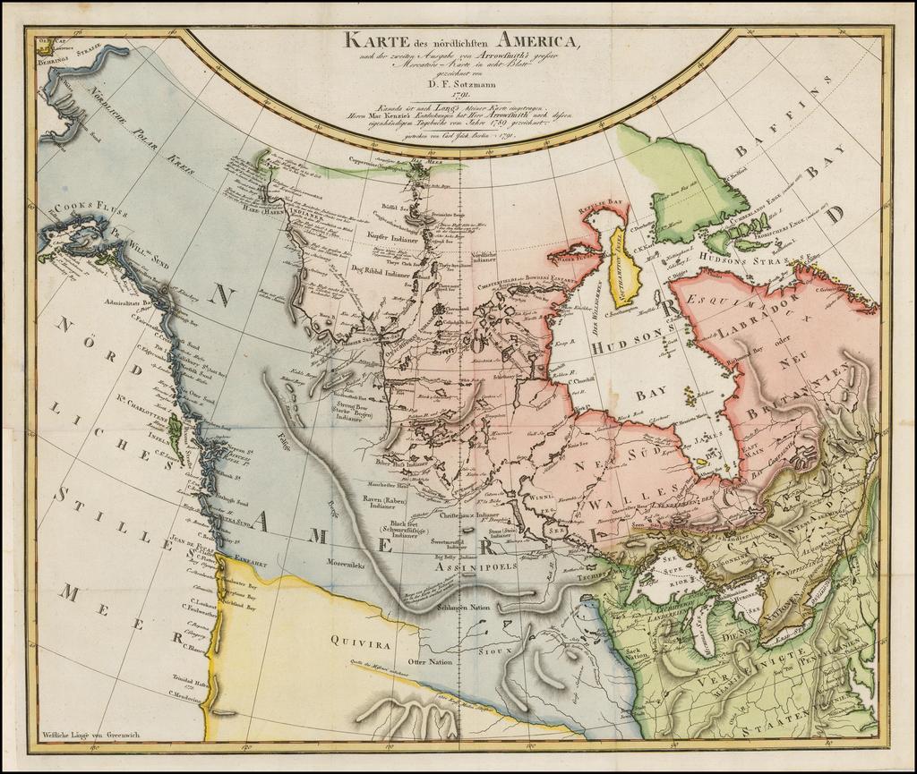 Karte des nordlichsten America, nach der zweiten Ausgabe von Arrowsmith's grosser Mercator-Karte in act Blatt gezeichnet von D.F. Sotzmann 1791 By Daniel Friedrich Sotzmann
