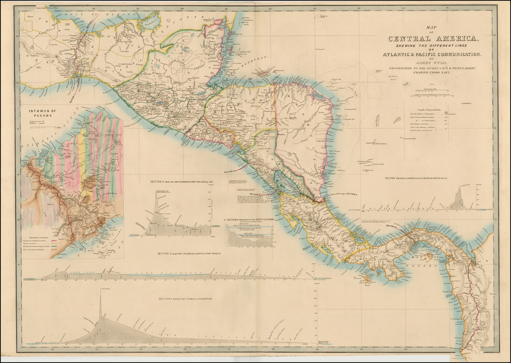 Map of Central America Shewing The Different Lines of Atlantic & Pacific Communication.  By James Wyld, Geographer To the Queen & H. Late R. H. Prince Albert . . .  By James Wyld