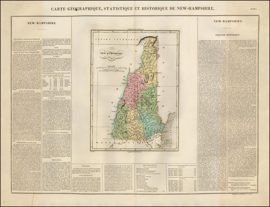 Carte Geographique, Statistique et Historique De New Hampshire By Jean Alexandre Buchon