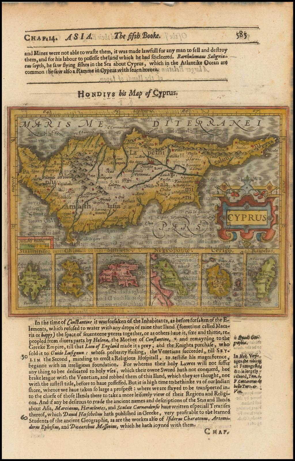 Cyprus [with insets of Rhodus, Cerigo, Negroponte, Mitilene, Chius and Stalimini] By Jodocus Hondius / Samuel Purchas