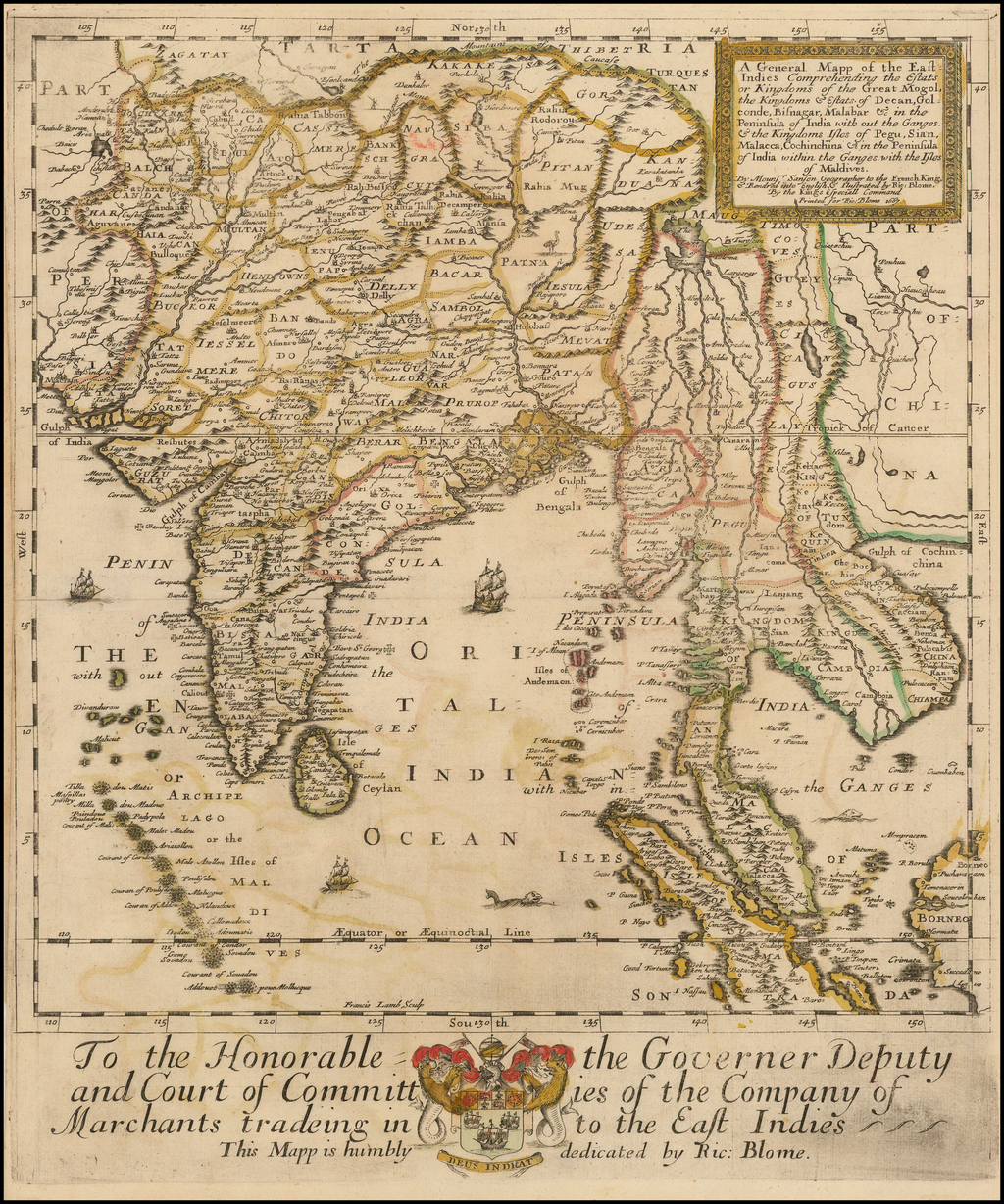 A General Mapp of the East Indies Comprehending the Estats or Kingdoms of the Great Mogol, the Kingdoms & Estats of Decan, Golconde, Bisnagar, Malabar & in the Peninsula of India with out the Ganges.  & the Kingdoms Isles Pegu, Sian, Malacca, Cochinchina . . . 1667 By Richard Blome
