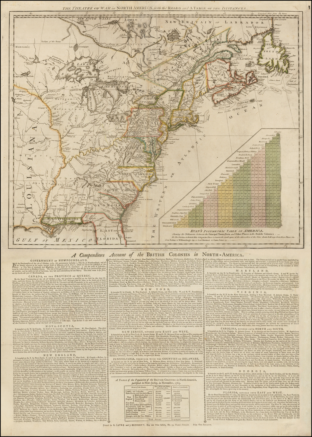 The Theatre of War in North America, with the Roads and a Table of the Distances  [with] A Compendious Account of the British Colonies in North-America.  By Robert Sayer  &  John Bennett