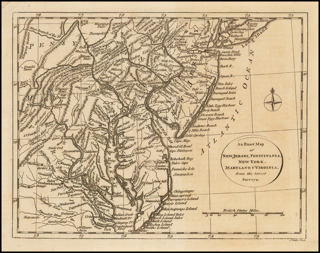 An Exact Map of New Jersey, Pensylvania, New York, Maryland & Virginia, from the latest Surveys. By John Lodge