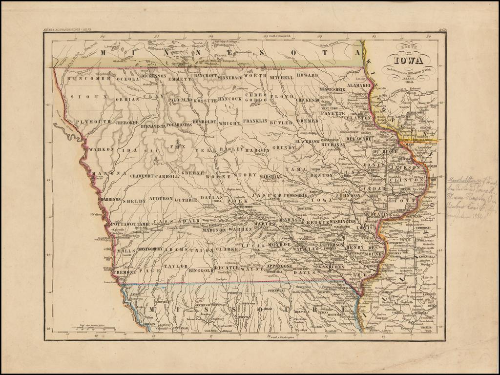Karte von Iowa . . . 1852 By Joseph Meyer