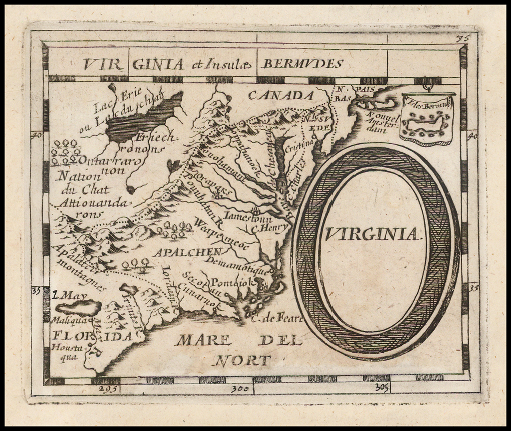 Virginia  (Virginia et Insulae Bermudes) By Pierre Du Val / Johann Hoffmann