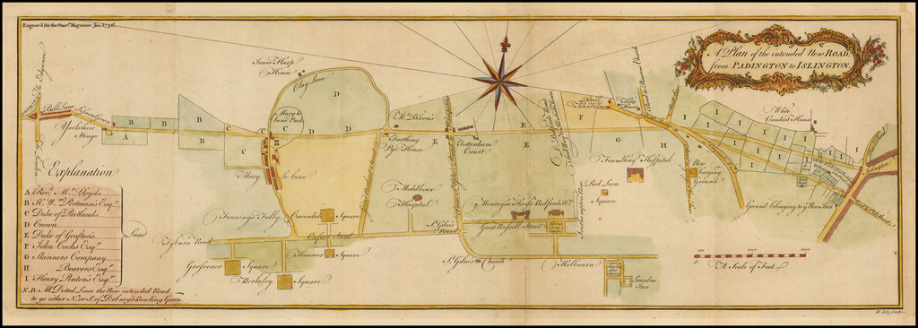 A Plan of the intended New Road, from Padington to Islington By Gentleman's Magazine