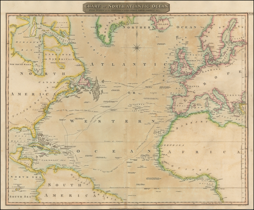 Chart of the North Atlantic Ocean with Tracks of the Shipping to West Indies, North America, &cc. By John Thomson