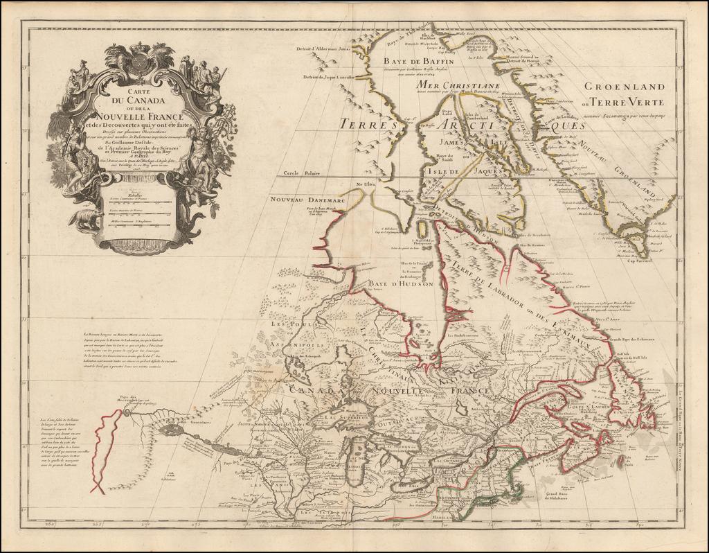 Carte Du Canada ou de la Nouvelle France et des Decouvertes qui y ont ete faits . . . 1703 By Guillaume De L'Isle