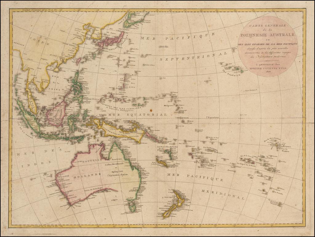 Carte Generale de la Polijnesie Australe ou Des Iles Eparses de La Mer Pacifique . . . chez Mortier Covens & Fils By Mortier, Covens & Zoon