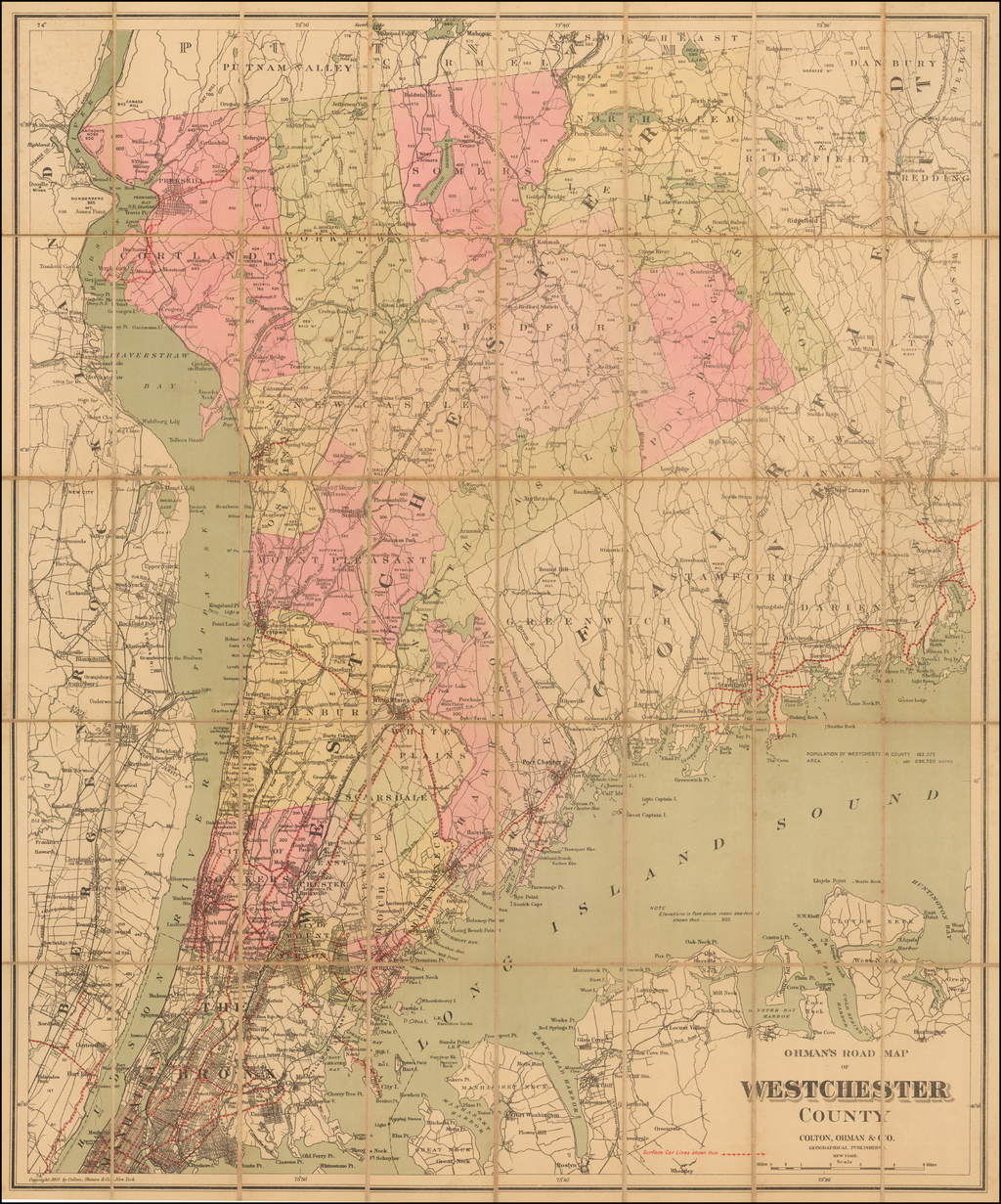 Ohman's Road Map of Westchester County . . . 1901 By Colton Ohman & Co.
