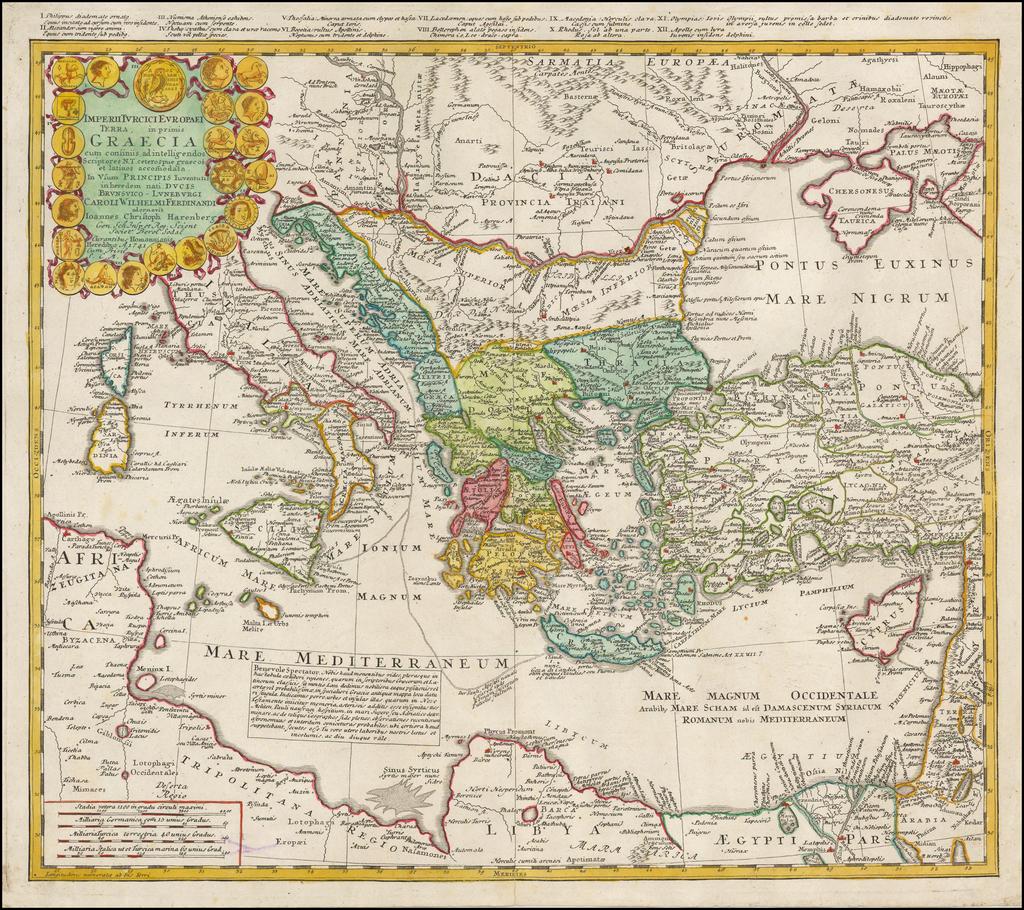 Imperii Turcici Europaei Terra in primis Graecia . . . 1741  (shows Cyprus) By Homann Heirs
