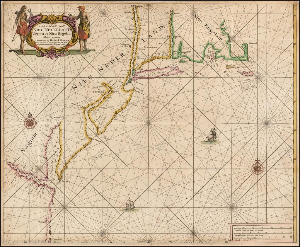 Pascaert van Nieu Nederland, Virginia en Nieu Engelant Nieulycx uytgegeven . . . 1660 By Hendrick Doncker