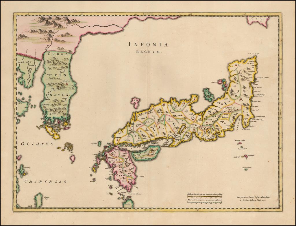 Iaponia Regnum (first regional map to show Korea as a peninsula) By Johannes Blaeu