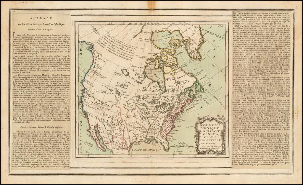 Nouveau Mexique, Louisiane, Canada et Nlle. Angleterre . . . 1766 By Louis Charles Desnos