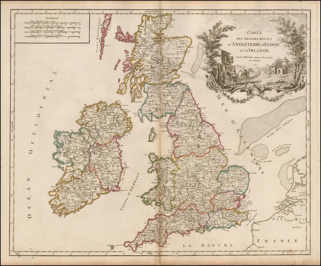 [Post Roads of the British Isles]  Carte Des Grandes Routes D'Angleterre, d'Ecosse et d'Irlande. By Gilles Robert de Vaugondy