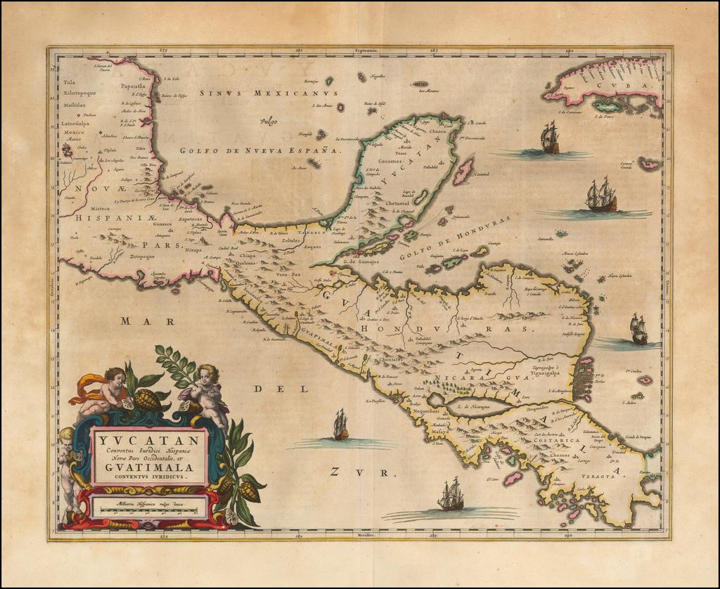 Yucatan Conventus Iuridici Hispaniae Novae Pars Occidenalis, et Guatimala Conventus Iuridicus   By Johannes Blaeu