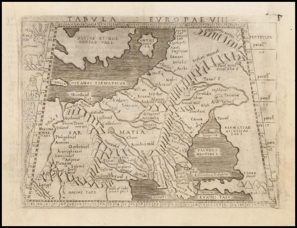 Europae Tabula VIII   [Russia, Ukraine, Baltic, Scandinavia]  By Giacomo Gastaldi