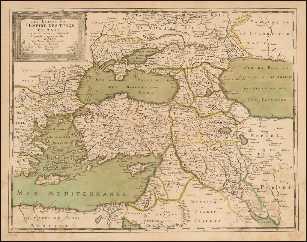 Les Estats de L'Empire des Turqs en Asie . . . . (Includes Cyprus) By Nicolas Sanson