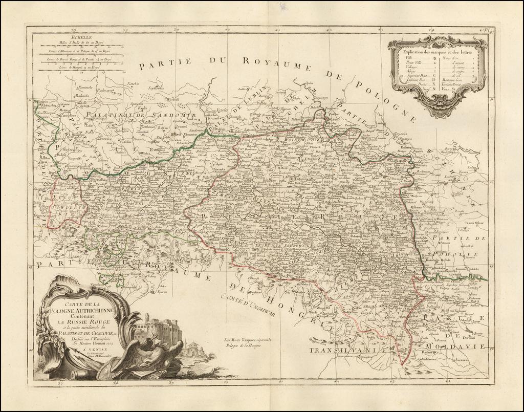 Carte De La Pologne Autrichienne Contentenat La Russie Rouge et la partie meridionale du Palatinat De Cracovie etc. . . 1776 By Paolo Santini