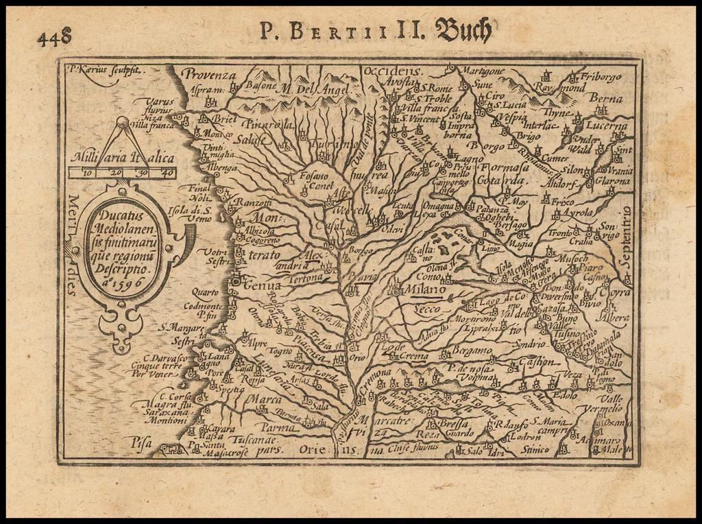 Ducatus Mediolanensis Finitimaru que regionu Descriptio ao 1596. By Barent Langenes