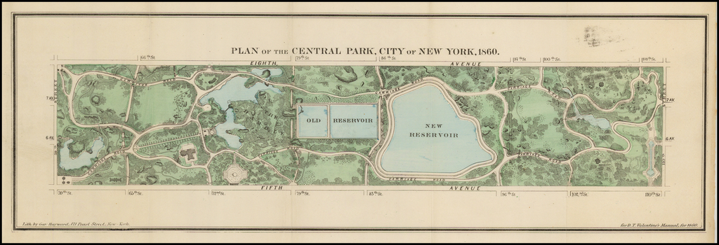 Plan Of The Central Park  City Of New York  1860