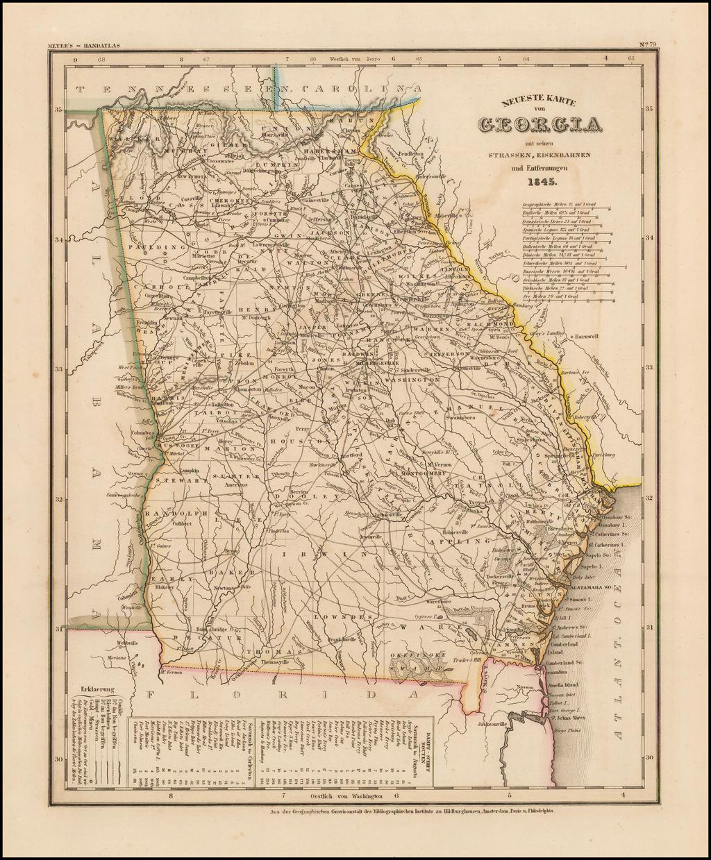Neueste Karte von Georgia . . .  1845. By Joseph Meyer