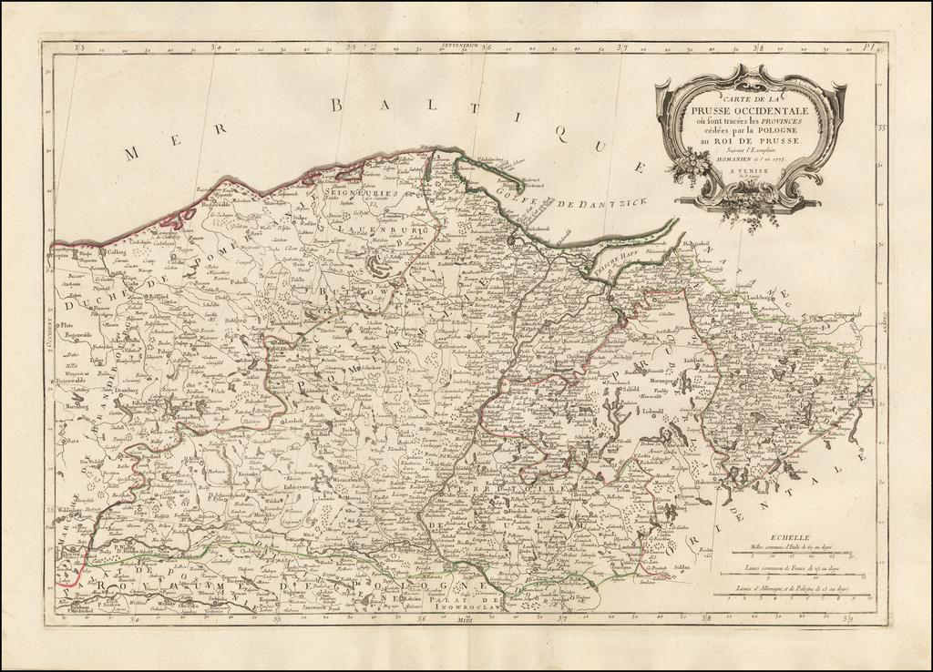 Carte De La Prusse Occidentale ou sont tracees les Provinces cedees Par la Pologne au Roi De Prusse . . . 1775 By Paolo Santini