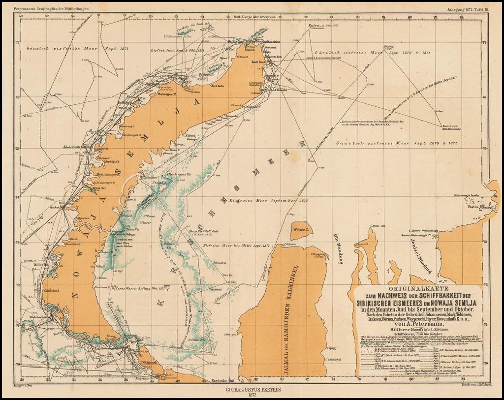 Originalkarte zum Nachweis der Schiffbarkeit des Sibirischen Eismeers uin Mowaja Semlja in den Monaten Juni bis September und Oktober . . .  By Augustus Herman Petermann