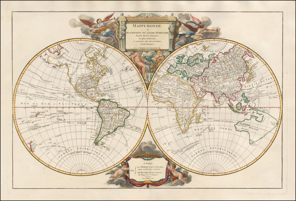 Mappemonde ou Description Du Globe Terrestre  dressee sur les memoires les plus nouveaux, et assujettie aux observations astronomiques . . . 1752 By Gilles Robert de Vaugondy