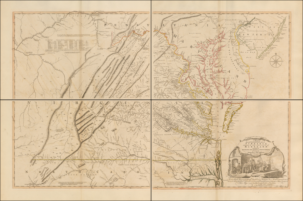 A Map of the most Inhabited part of Virginia containing the whole Province of Maryland . . .   Drawn by Joshua Fry & Peter Jefferson in 1775  [Extremely Rare Final State] By Joshua Fry  &  Peter Jefferson