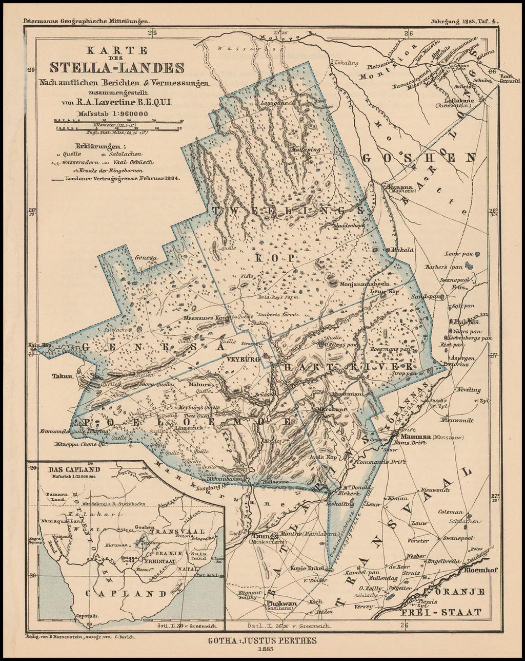 [Republic of Stellaland] Karte des Stella-Landes, nach amtlichen Berichten & Vermessungen zusammengestellt von R. A. Lavertine By Augustus Herman Petermann