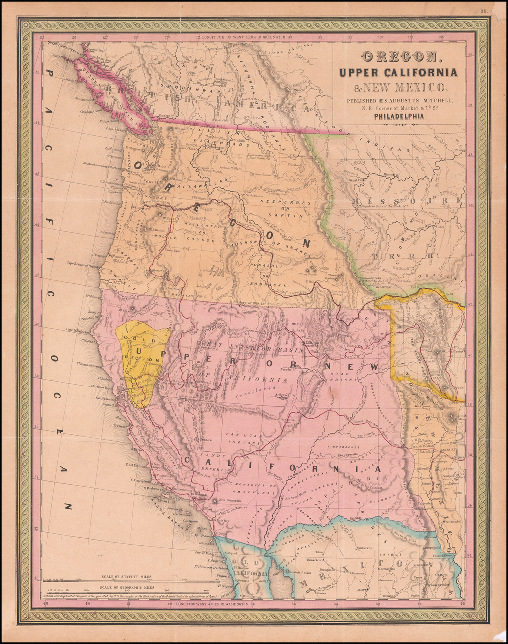 Oregon, Upper California, & New Mexico  [Gold Region Shown in Gold!] By Samuel Augustus Mitchell