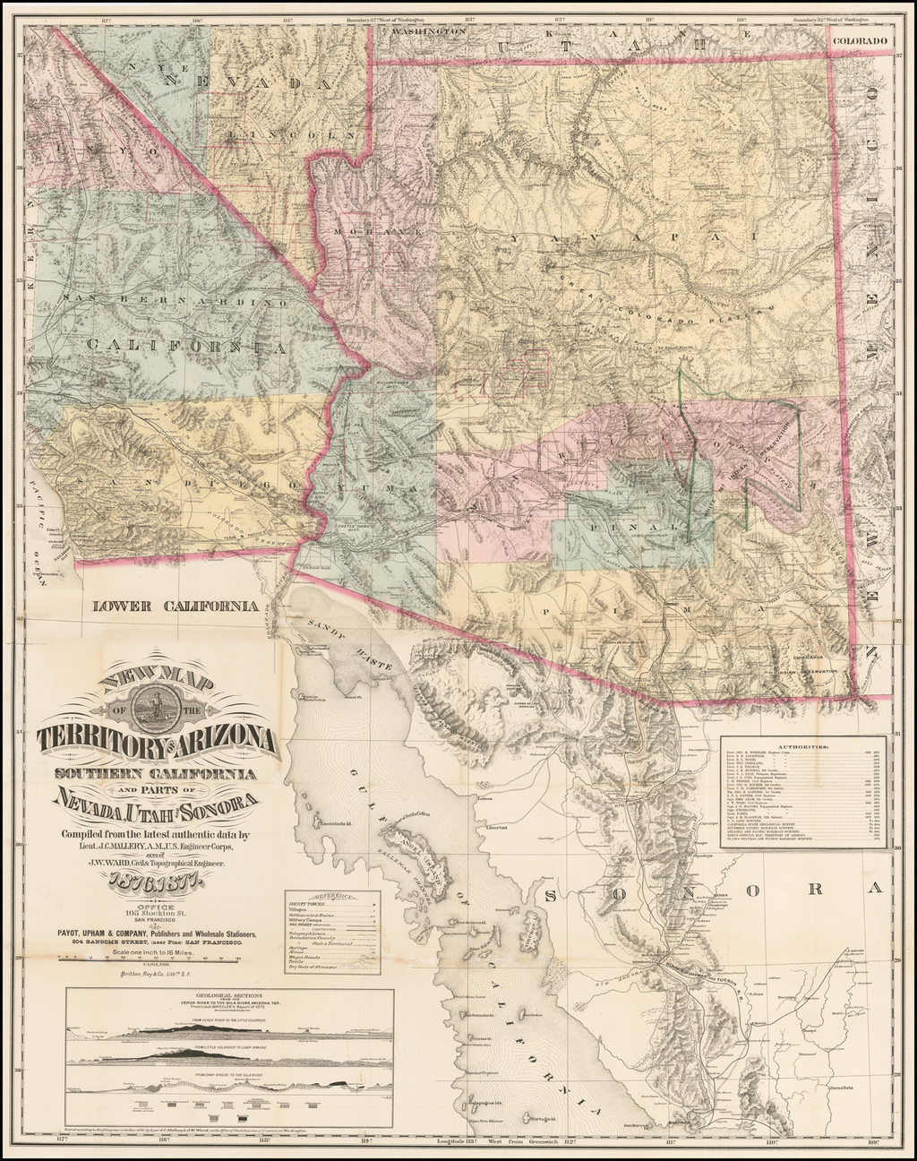 New Map of the Territory of Arizona Southern California and Parts of Nevada, Utah and Sonora Compiled from the latest authentic data by Lietenant J.C. Mallery, A.M., US. Engineers Corps, and J.W. Ward, Civil & Topographical Engineer.  1876-77 By J.C. Mallery / J.W. Ward