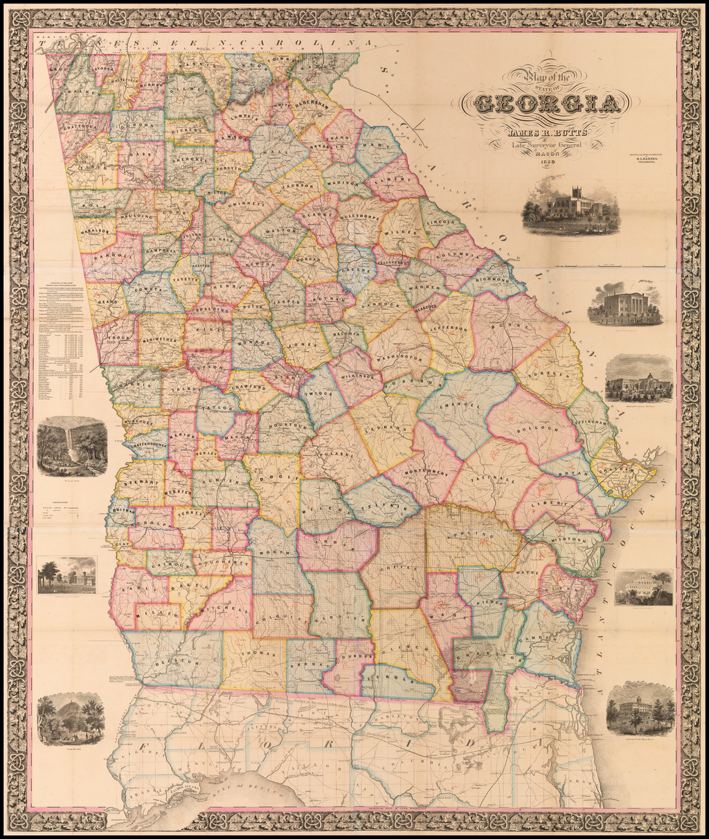 Map of the State of Georgia Compiled By James R. Butts Late Surveyor General Macon 1859 [Owned by 2 Confederate Generals and 2 Union Generals] By James R. Butts
