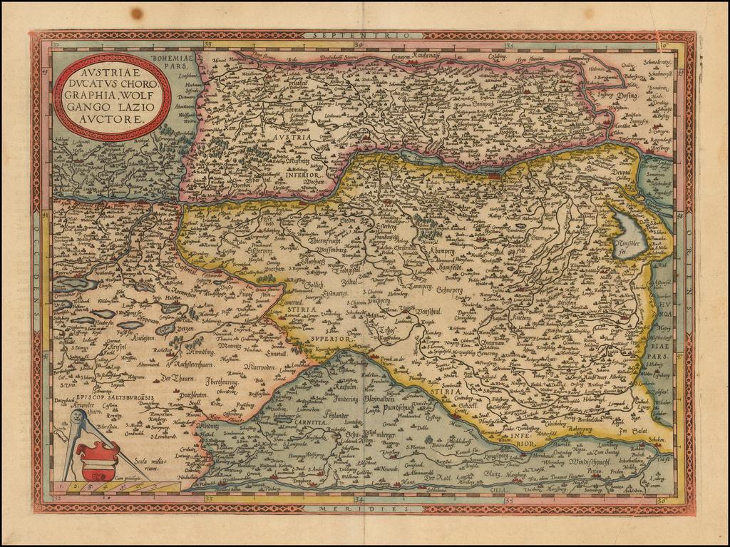 Austriae Ducatus Chorographia Wolfgango Lazio Auctore By Abraham Ortelius