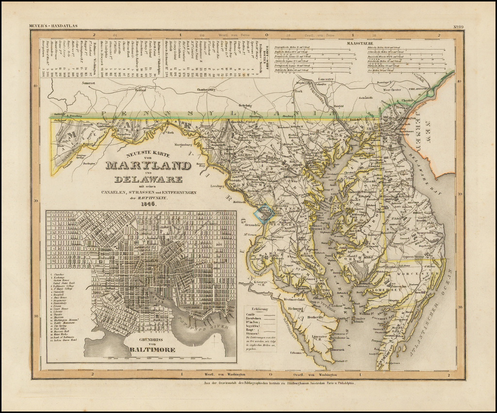 Neueste Karte von Maryland und Delaware . . . 1846 (Inset map of Baltimore) By Joseph Meyer