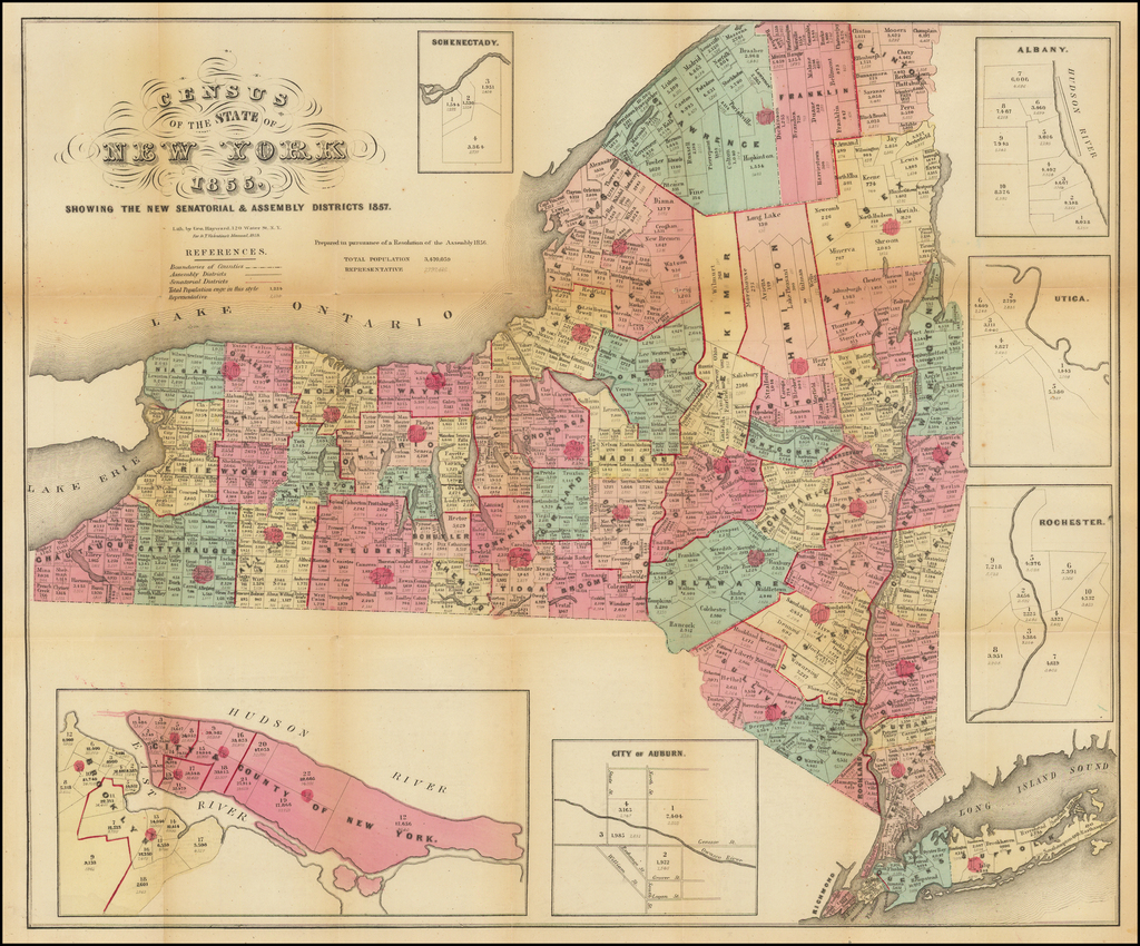 Census of the Seat of New York 1855.  Showing The New Senatorial & Assembly Districts 1857. By Valentine's Manual