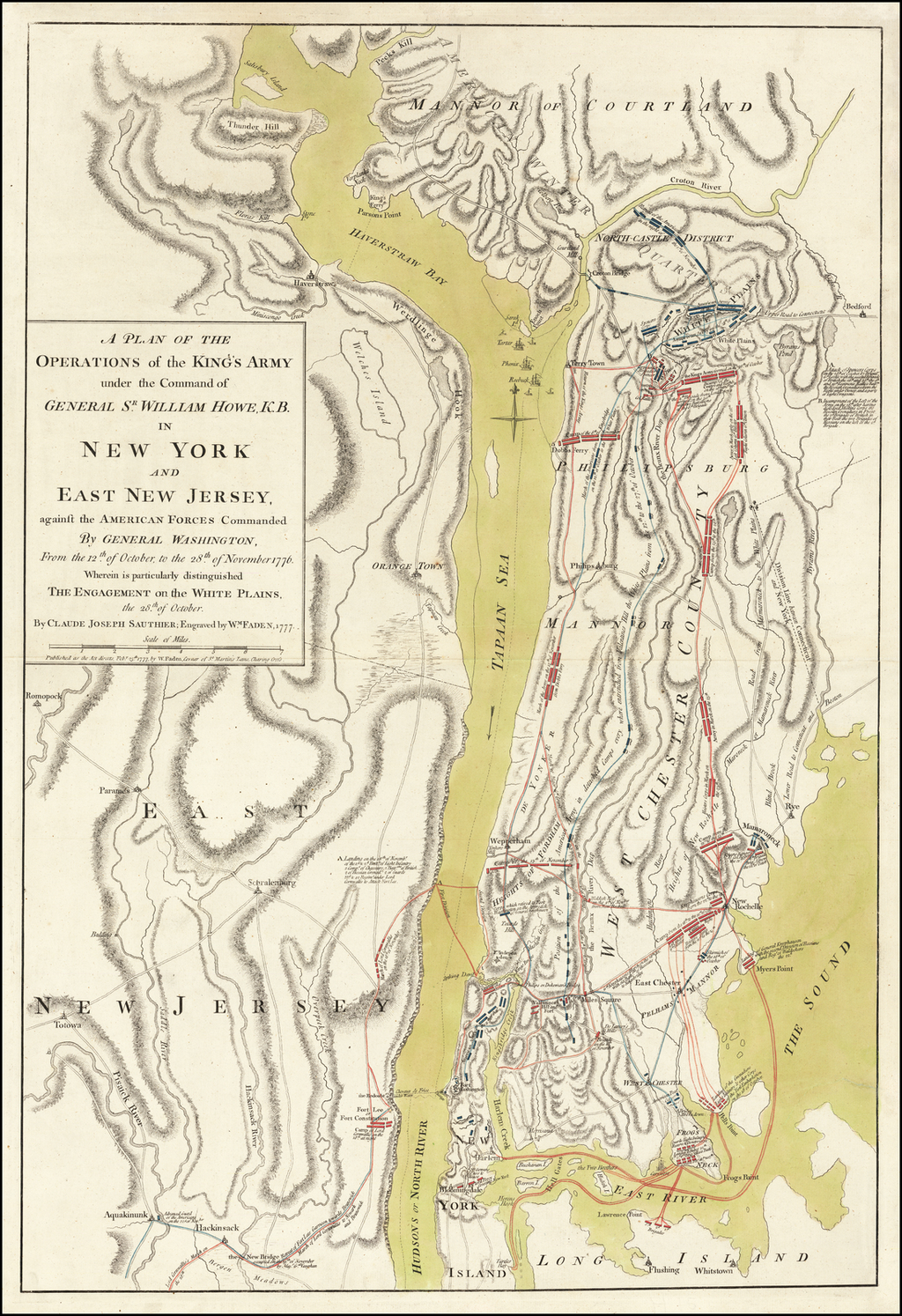 A Plan of the Operations of the King's Army under the Command of General Sr. William Howe, K.B. in New York and East New Jersey, against the American Forces Commanded By General Washington, From the 12th of October to the 28th of November 1776 . . .  By William Faden